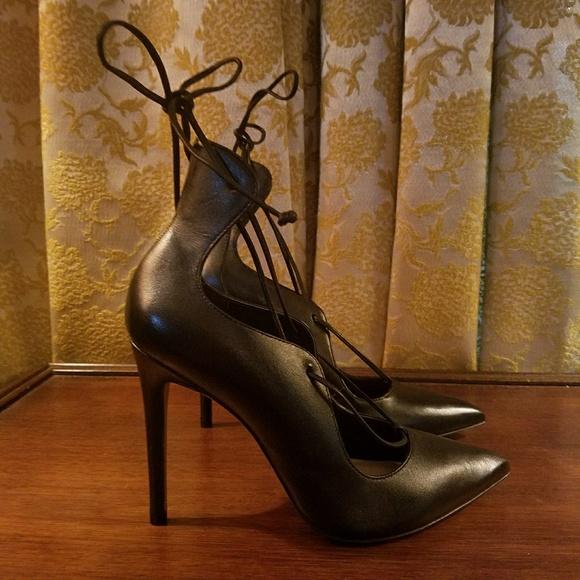 3536cab27 Aldo Shoes | Black Leather Lace Up Heels Thylia Size 65 | Poshmark
